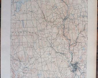 Antique Rare CONNECTICUT WATERBURY & Surrounding Areas Rare 1908 US Geological Survey Topographic Map