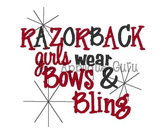 Razorback Girls wear bows and bling -- Machine Embroidery Design
