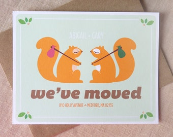 Personalized Moving Announcement / Squirrel Stationery / New Home