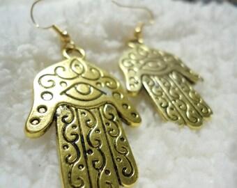 Hamsa Earrings -- Hand of Fatima -- Unique Gift