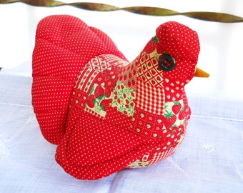 Country Hen Cottage Chic Farmhouse Americana Primitive Folk Art Soft Sculpture Calico Chicken Vintage 1970s