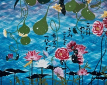 """Limited edition Fine Art Print 8.5x11"""" To the Castle in the sea, swimming flowers & Japanese calligraphy with original poem"""