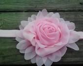 Roxanne-Large Pink Chiffon Flower on a pink super soft Headband...Valentines Day.....baby...newborn....birthday....large flower