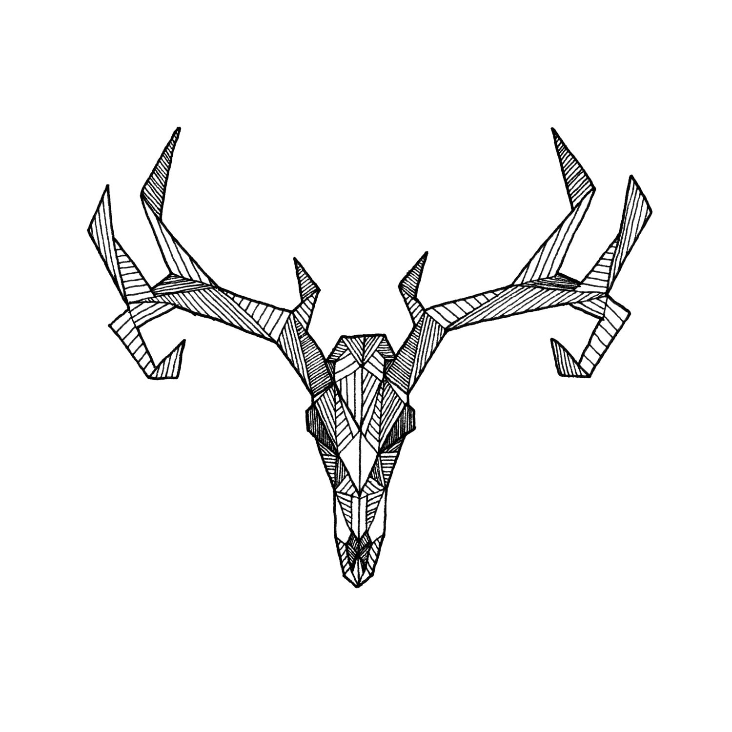 Items Similar To Detailed Geometric Deer Skull Drawing