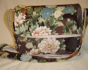 Large Pink Floral Messenger Bag