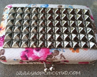Studded Clutch Wallet Floral Print With Silver Studs