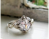 RESERVED for JR- Vintage Silver Engagement Ring Princess Cut with 4 Marquise Stones 1960s