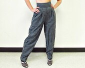 1980s Harem Pants / Charcoal Gray / Pinstripe / NOS / NWT / Size Small