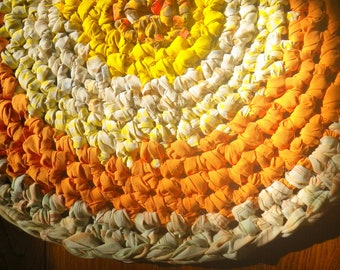 Artisan Crochet Rag Rug Sunny Harvest Cotton Cottage Shabby Chic OOAK Nursery Eco Round Rug Art Textile Hand Made