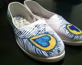 Peacock hand painted flats shoes size 10 shoes