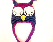 Sleeping Owl Hat CROCHET PATTERN (h13) All sizes, Newborn to Adult, Beanie and Earflap, (Pdf file)