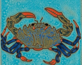 Hand Painted Ceramic Tile Blue Crab American Made