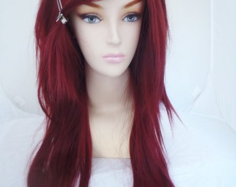 Bordeaux / Auburn / Long Straight Layered Wig