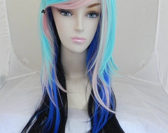Black, Navy Blue, Cotton Candy Pink, Baby Blue / Long Straight Layered Wig