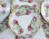 Six Vintage Dessert Plates...Pink and White Roses...Ornate Gold Trim...Bauer & Pfeiffer...Wurttemberg...Germany...Early 1900s