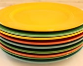 RESERVED...Nine Harlequin Plates...8 Dinner & 1 Luncheon Size...Homer Laughlin China Co...Original Vintage and 1979 Reissue...Made in USA