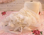 RESERVED...Large Spool of Vintage Lace...White...Many, Many Yards...Trim...Sewing...Crafts...Artwork