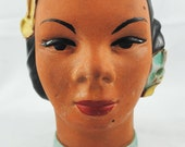 FREE SHIPPING 1940's 1940s Vintage Hawaiian Pottery Lady Head Hawaii Artist Signed 1943