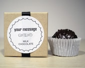 Custom Black Ribbon Wedding Favors Reception//Rehearsal Dinner//Welcome Gifts Flavored Milk or Dark Chocolate Truffle