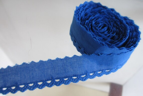 3 Yards 20mm Wide Blue Vintage Cotton Lace Trim  with Embroidered Eyelet Scallop Edges
