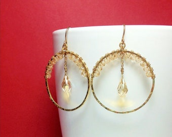 Beautiful Handmade Gold Hammered Hoop Earrings with Swarovski Crystals