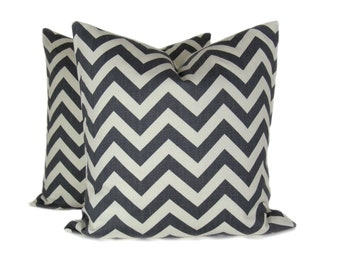 GRAY PILLOW SET.18x18 inch.Decorator Pillow Covers.Printed Fabric both sides.Chevron. ZigZag Pillows.Housewares.Home Decor.Cushions.
