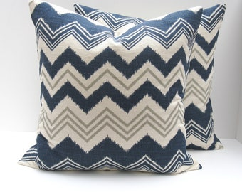 Decorative Throw Pillows Blue Pillows Accent Pillows Cushion Covers Blue Gray Pillows ZigZag TWO 16x16 Pillow Covers Toss Pillows