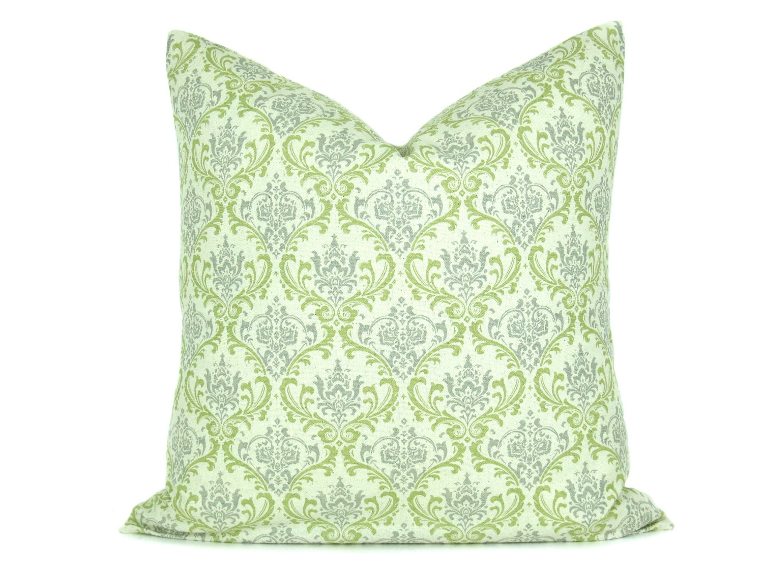Decorative Cream Pillows : Decorative Throw Pillow Gray Green Cream Damask ONE by EastAndNest