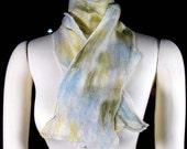 Nuno felted scarf: merino wool and silk gauze