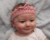 Baby Girls Royal Crown,Hair-band,Princess Headband , Hand Crocheted in Cotton.photo prop, newborn,baby shower gift,tiara can make to measure