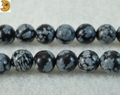 15 inch strand of Black Snowflake Obsidian smooth round beads 8mm