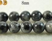 15 inch strand of Black labradorite smooth round beads,8 mm