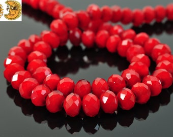 Sale---15.5 inch strand of Crystal glass opaque faceted rondelle beads 6x8 mm