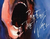 """Pink Floyd. The Wall. Painting on Giclee Canvas 16""""x20"""" with mat frame."""