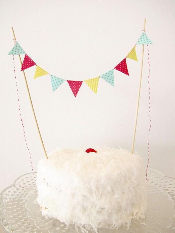 Fabric Cake Bunting Decoration - Cake Topper - Wedding, Birthday Party, Shower Decor in yellow gingham, fuschia and aqua polka dot