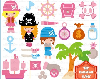 Buy 2 Get 2 Free ---- Pirate Girls---- Personal and Small Commercial Use ---- BB 0043
