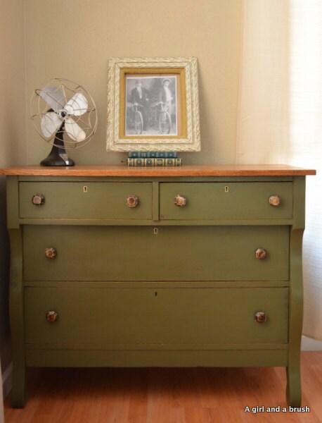 Antique Dresser In Olive By Annie Sloan Chalk Paint