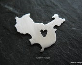 China w/ Heart Shape Metal Stamping Blank / Hand Stamp Shape Disc / Handstamping Supply / Custom Design Blank