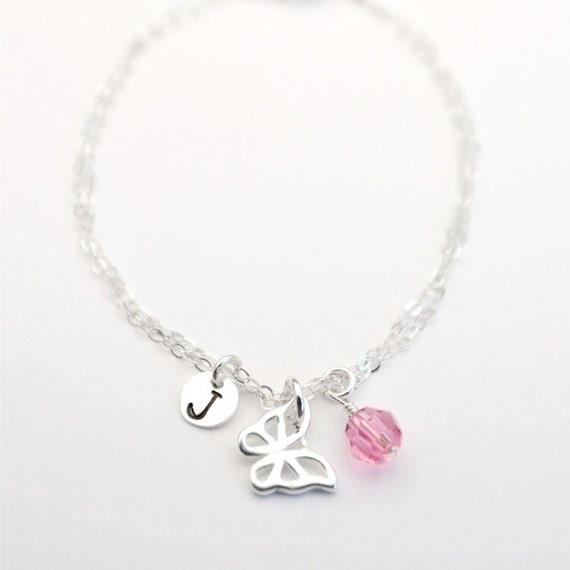 Sterling Silver Personalized Butterfly Bracelet & Birthstone Personalized Bridesmaids Gift Flower Girl, Girls Bracelet, Friend, Mothers Mom.