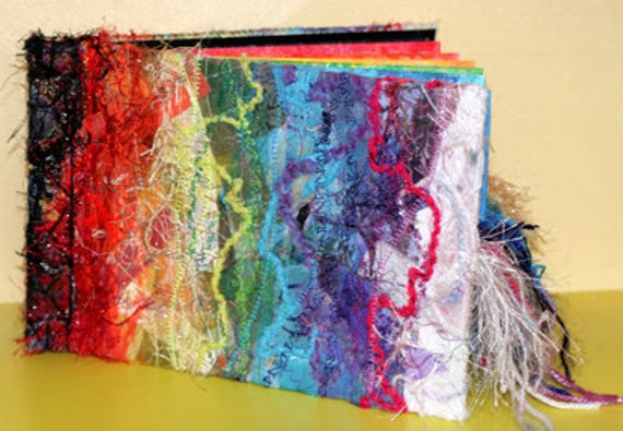 CUSTOM ORDER O.O.A.K. Chakra Japanese stab bound book, Rainbow textile cover, teaching aid, reference,funky and unusual.