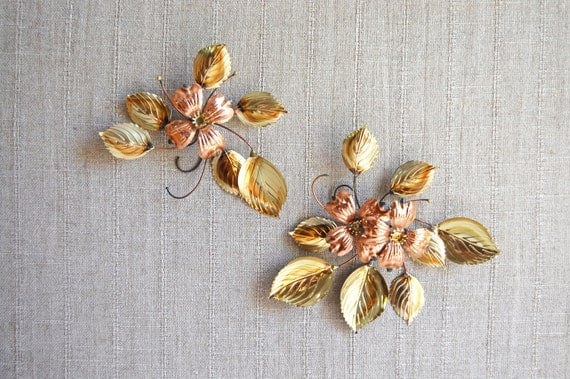 Vintage Flower Wall Hangings - Copper and Gold Wall Art - Set of Two