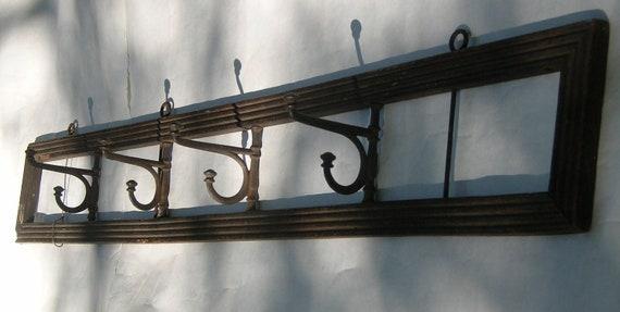 Vintage Hanging Coat Rack -- Moveable Hooks
