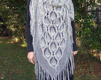 Handmade Silver Crochet Shawl