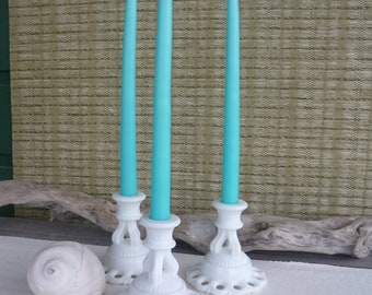 Vintage Westmoreland Milk Glass Candle Holder, Set of 3, Shabby Chic Decor