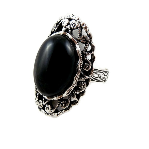 Black Stone Ring -  Onyx in Antique Silver, Victorian - Adjustable Size Band - Soldered, Unisex