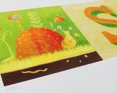 "Nursery art print - S is for snail - kids room illustration - 11""x17"""