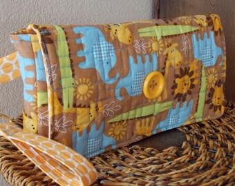 SALE Large handmade clutch purse wristlet quilted fabric organizer blue, brown, gold, green baby elephants, lions, giraffe, jungle animals