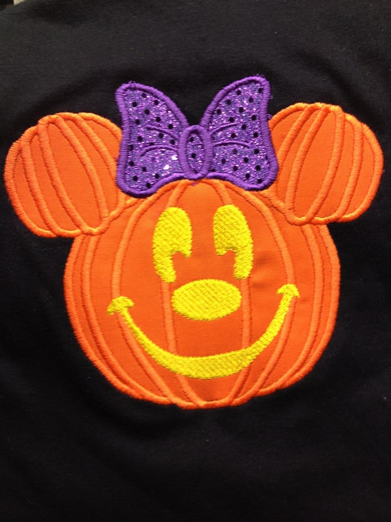 Items Similar To Halloween Minnie Mouse Pumpkin Applique
