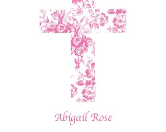 Floral Cross  Artwork for Nursery, Personalized print