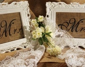 Burlap Mr and Mrs Wedding Signs